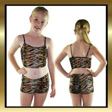 Tiger Print Childrens Dance Wear Costume - Dance Shorts & Matching Crop Top