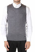 DSQUARED2 New Men Grey Sleeveless Sweater Gilet 100% Wool NWT