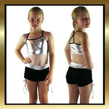 Childrens Silver & Black Spandex Dance Wear Top and Tie Side Shorts