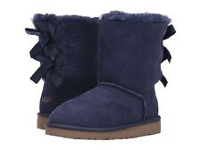 NIB UGG Kids Bailey Bow Twinface Sheepskin Boots in Solid Peacoat Blue