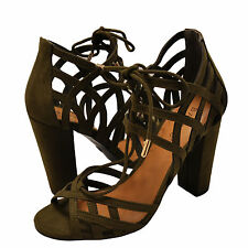 Women's Shoes Bamboo Rampage 56M Open Toe Lace Up Chunky Heels Olive *New*