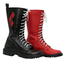 Harley Quinn Shoes Suicide Squad Cosplay Boots for Halloween Costume Props PU