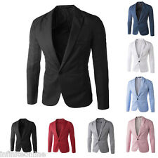 Mens Blazer Jacket Adults One Button Smart Slim Fit Blazers Suit Coat Outerwear