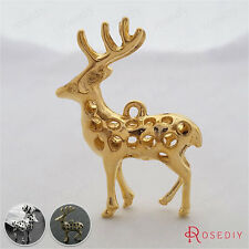 5PCS 40*30MM 3D Hollow Deer Charms Pendants Jewelry Findings Accessories 27560
