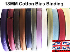 13mm Cotton Bias Binding Tape 25mtrs BUNTING SEWING/CRAFT Choice of Colours