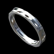 14K White Gold Unique Hammered Finish Women's Eternity Wedding Band 3mm Wide