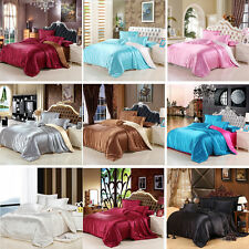 Soft Solid Satin Bed Pillowcases Quilt Duvet Cover Set Single Queen King Size