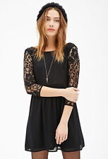 Forever 21 Black  3/4 Sleeves Lace Combo Smock Dress Medium M