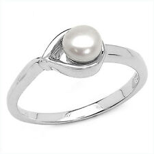 Genuine Freshwater Pearl Gemstone Rhodium Plated Sterling Silver Ring