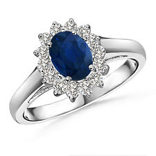 Vintage Style Oval Blue Sapphire Diamond Cocktail Ring in 14k White Gold Size 6
