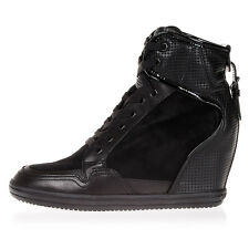 HOGAN REBEL New Woman black high Sneakers Shoes Leather With Wedge NWT