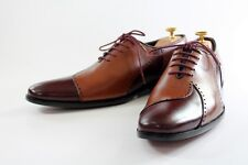 Handmade Men's Oxford Two tone Leather Shoes Brogue Toe Dress Ankle High Lace Up