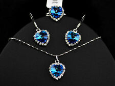 Platinum Plated Heart of Ocean Blue Made W/Swarovski Crystal Necklace Earrings