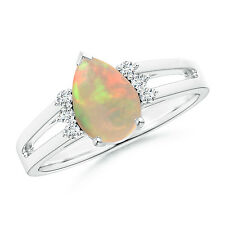 Solitaire Pear Cabochon Opal Engagement Ring With Diamond 14k White Gold Size 6