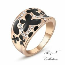 18K Gold Plated Butterfly Ring Made With Swarovski  Austrian Crystal Element