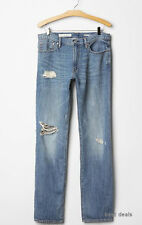 GAP MENS 1969 STRAIGHT Premium Linen JEANS MEDIUM Destroy NEW FREE FAST SHIPPING