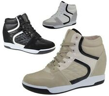 Womens Wedge Heel Ankle Boots Ladies Trainer High Top Sneaker Lace Up Shoes Size