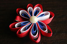 Baby Girl Child JULY 4th MISS AMERICA Barrette Hair Clip Bow RED WHITE BLUE Flag