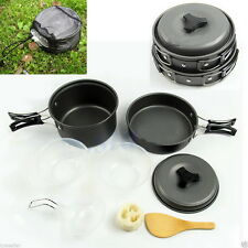 Outdoor Camping Hiking Cookware Backpacking Cooking Picnic Bowl Pot Pan Set P6