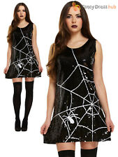 Ladies Spider Web Costume Adults Halloween Fancy Dress Womans Sexy Party Outfit
