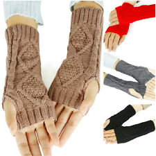 Vogue Women Winter Wrist Arm Hand Warmer Knitted Long Fingerless Gloves Mitten