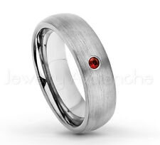 0.07ct Garnet Ring, Brushed Dome Tungsten Carbide Ring, January Birthstone #060