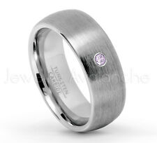 0.07ct Amethyst Ring, 8mm Brushed Dome Tungsten Ring, February Birthstone #069