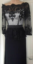 LIPSY ASOS VIP BLACK WHITE LACE OFF SHOULDER MAXI FULL LENGTH BALL DRESS RRP£175