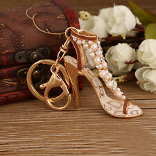 Fashion Enamel Women Handbags Keychain Crystal Golden High Heeled Shoes Key Ring
