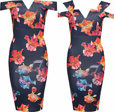 Womens Off Shoulder Party Dress Ladies Floral Print Sleeveless Bodycon Mini
