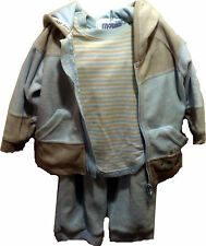 H&M Baby Boy 3 Piece Outfit Clothing Set Jacket Shirt Pants Size 6-9M Blue Beige