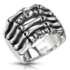 Skeleton Hand Skull & Cross Cast Ring 316L Stainless Steel Gothic Finger (FL329)