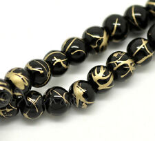 Black Gold Wholesale 6mm Round Glass Beads G8251 - 150, 300 Or 600PCs