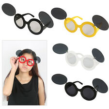 Flip Up Paparazzi Sunglasses Lady Gaga Shades Mickey Mouse Round Vintage Glasses