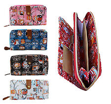 LADIES GIRLS WOMENS LARGE BLACK WHITE RED BLUE NOVELTY GIFT OWL ZIP PURSE WALLET