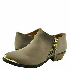 Women's Shoes Qupid Sochi 92 Gold Accent Toe Stacked Heel Booties Taupe *New*