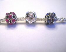 AUTHENTIC .925 Silver Choice Purple Pink Clear Stones Crystals Charm Birthstones
