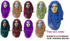Ladies Plain Hijab Maxi Large Viscose/Rayon Shawl Scarf Sarong Wrap vis