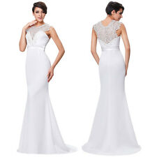 Sexy Formal  Ball Gown Evening Prom Party Dress Bridesmaids Wedding Maxi White