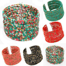 New Bohemian Charming Beaded Bangle Bracelet Multilayer Womens Fashion Jewelry