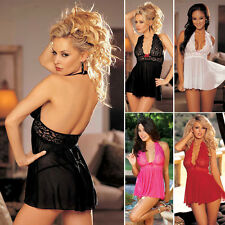 Sexy Womens Backless See-Through V-Neck Lace Sleepwear Super Mini Dress+G-String