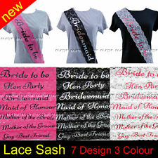 LACE HEN PARTY SASHES HEN NIGHT DO PARTY BRIDE TO BE BRIDESMAID GIRLS NIGHT OUT