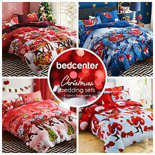 Red Santa Claus Christmas Bedding Quilt Duvet Cover Set Queen Size
