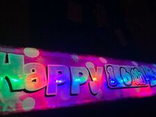 New personalised Flashing LED pink Happy 16th Birthday banner Party decorations