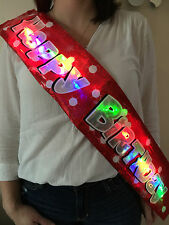 NEW PERSONALISED FLASHING SASH HAPPY BIRTHDAY BANNER ALL AGES 13-100th