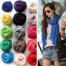 New Hot Sale Womens Girls Soft Crinkle Long Pure Candy Scarf Wrap Shawl Stole