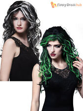 Ladies Long Curly Gothic Bride Witch Wig Halloween Fancy Dress Costume Accessory