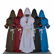 Halloween Monk Hooded Robes Cloak Cape Friar Church Fathers Wizard Robe Cosplay
