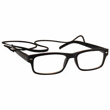 UV Reader Matt Black Reading Glasses with Neck String Mens Womens Inc Case