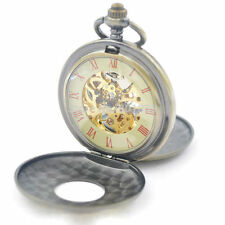 Roman Numerals Skeleton Watch Steampunk Double Open Case Mechanical Pocket Watch